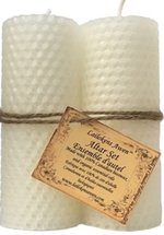 ALTAR CANDLE SET WHITE BEESWAX