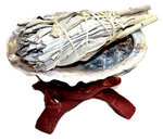 """WHITE SAGE SMUDGE KIT ( 4"""" WHITE SAGE STICK, 4"""" ABALONE SHELL, WOODEN STAND )"""