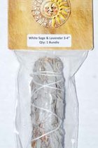 "4"" WHITE & SAGE & LAVENDER SMUDGE STICK"